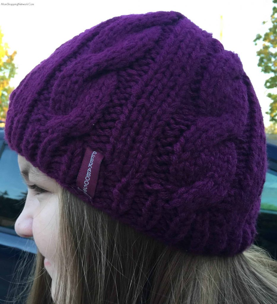 These hats are great to wear with ponytails, my daughter just loves hers! It really keeps your head warm!