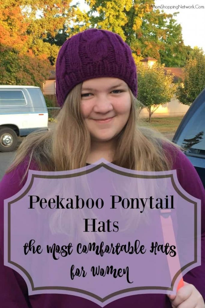 I absolutely love these stylish hats, and they work great with a ponytail, too!