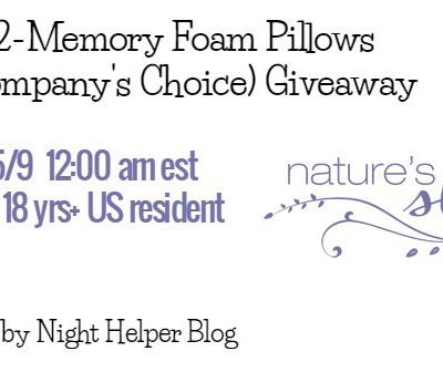 Giveaway- Nature's Sleep 2 Memory Foam Pillows