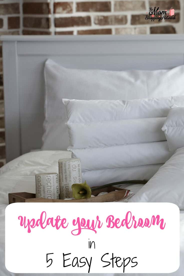 How to Update Your Bedroom in 5 Easy Steps. #bedroom #bedroomdecor #decorationtips #momshoppingnetwork #decortips