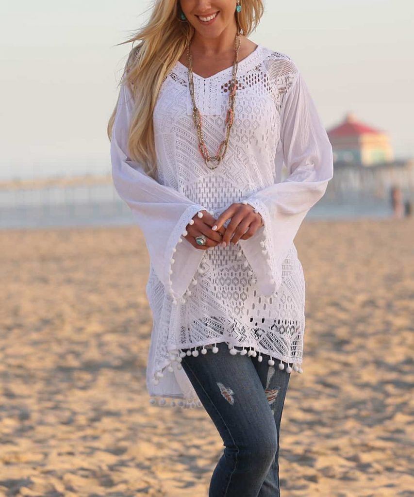 White Lace Bell-Sleeve Semi-Sheer Peasant Tunic - Women & Plus #plussize #plussizedclothing #plussizebeachwear