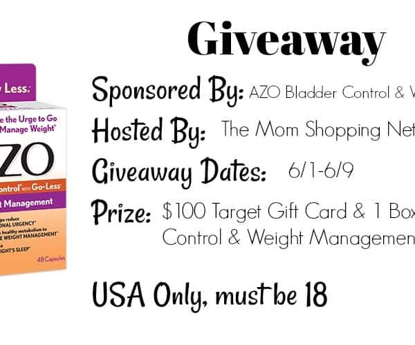 Giveaway- AZO Bladder Control & Weight Management- $100 Target Gift Card