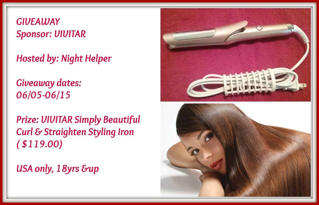 Giveaway- Vivitar Simply Beautiful Curl & Straighten Styling Iron, Ends 6/15