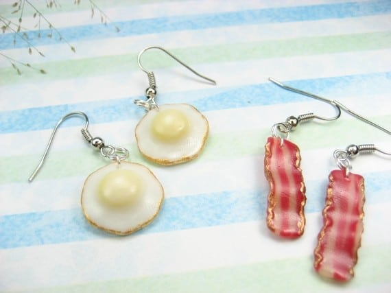 Bacon and Egg Earrings  #funnyearrings