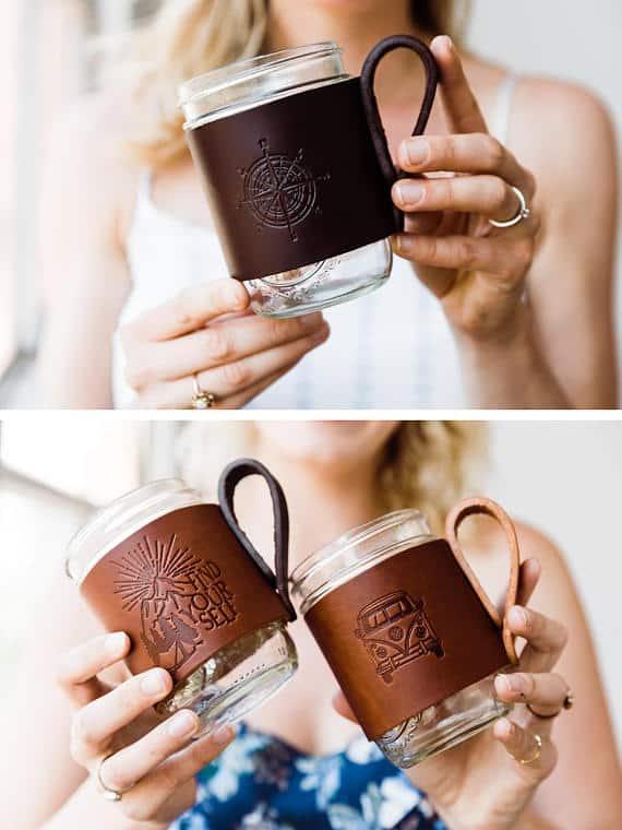 Leather Mug Huggers #coffeelover #coffeemug #coffeegifts