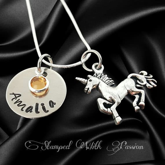 Unicorn Necklace #jewelry #birthstonejewelry #etsy