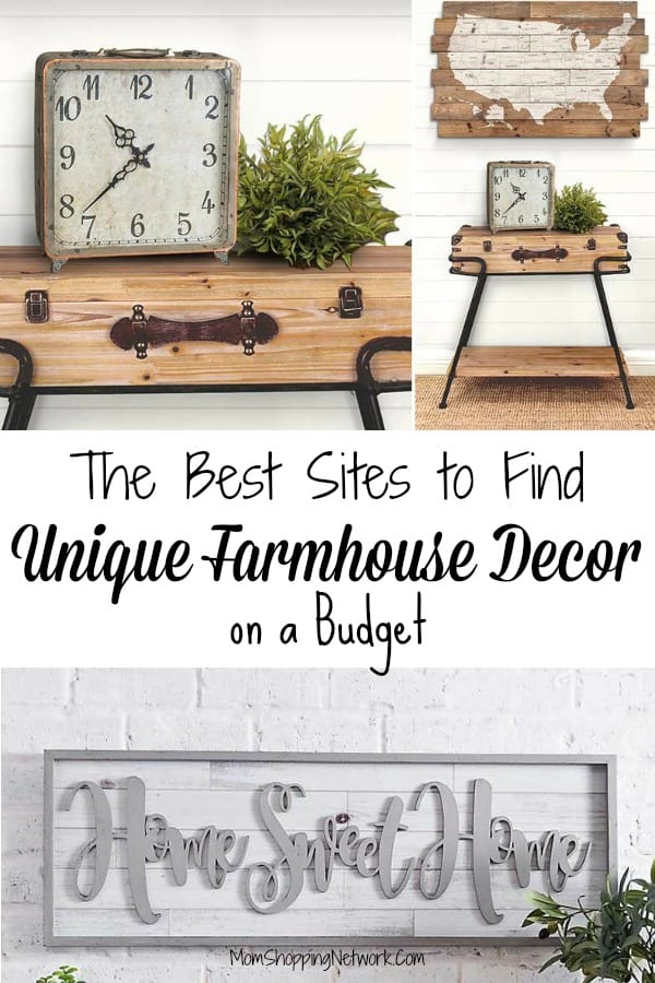 farmhouse decor including old suitcaise, clock, home sweet home sign