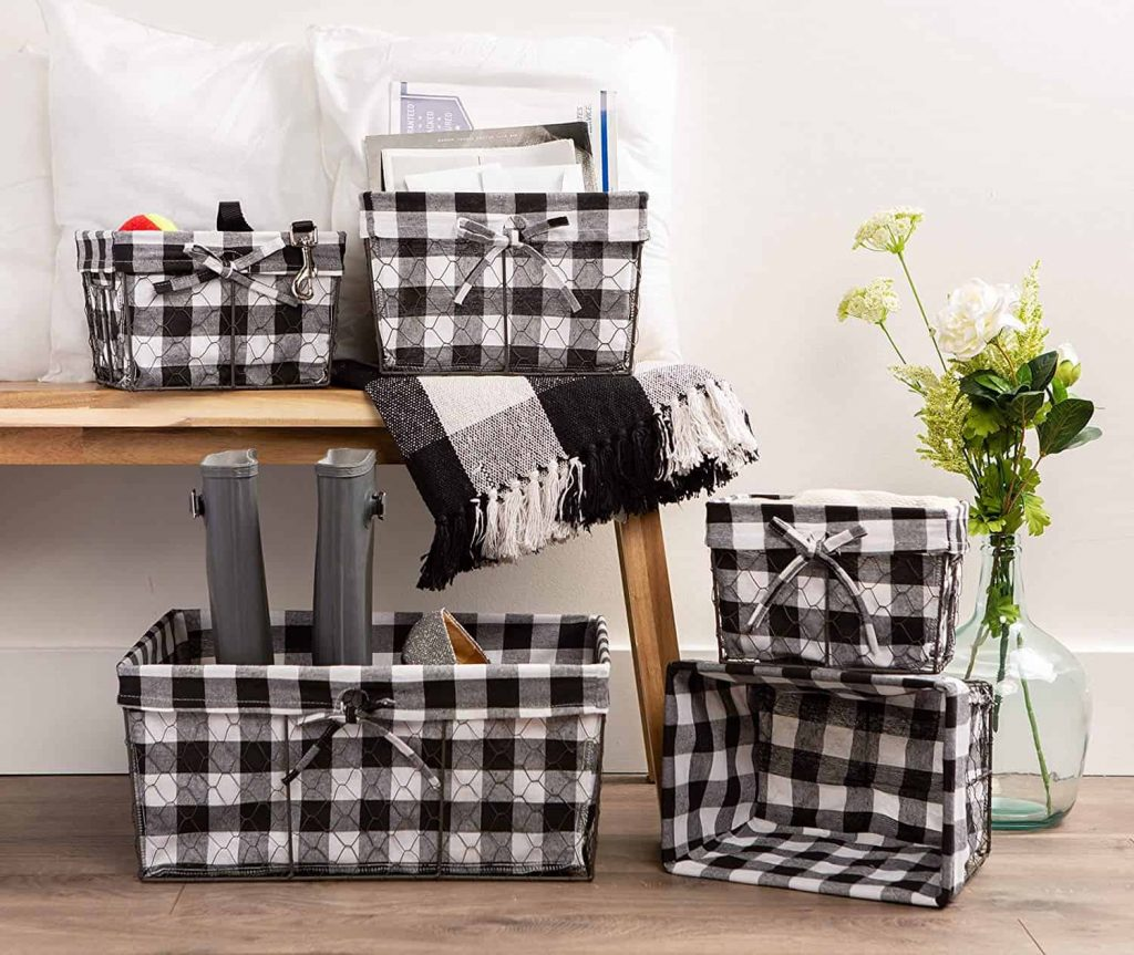black and white checkered baskets