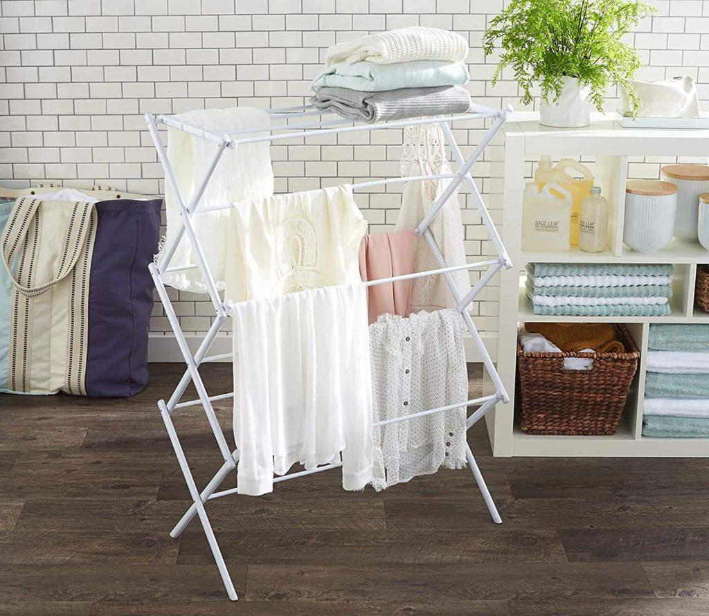 white laundry room rack
