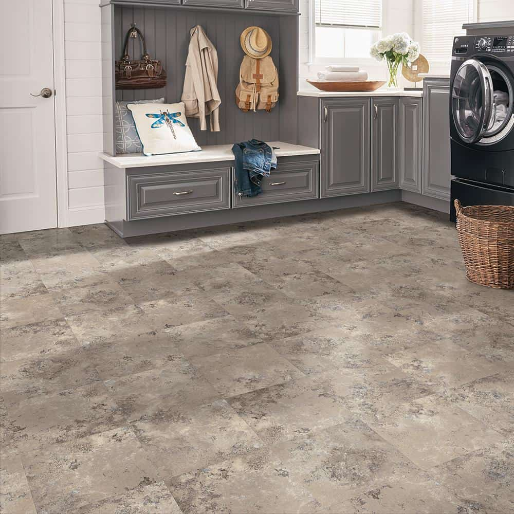 laundry room grey cabinets peel and stick tiles