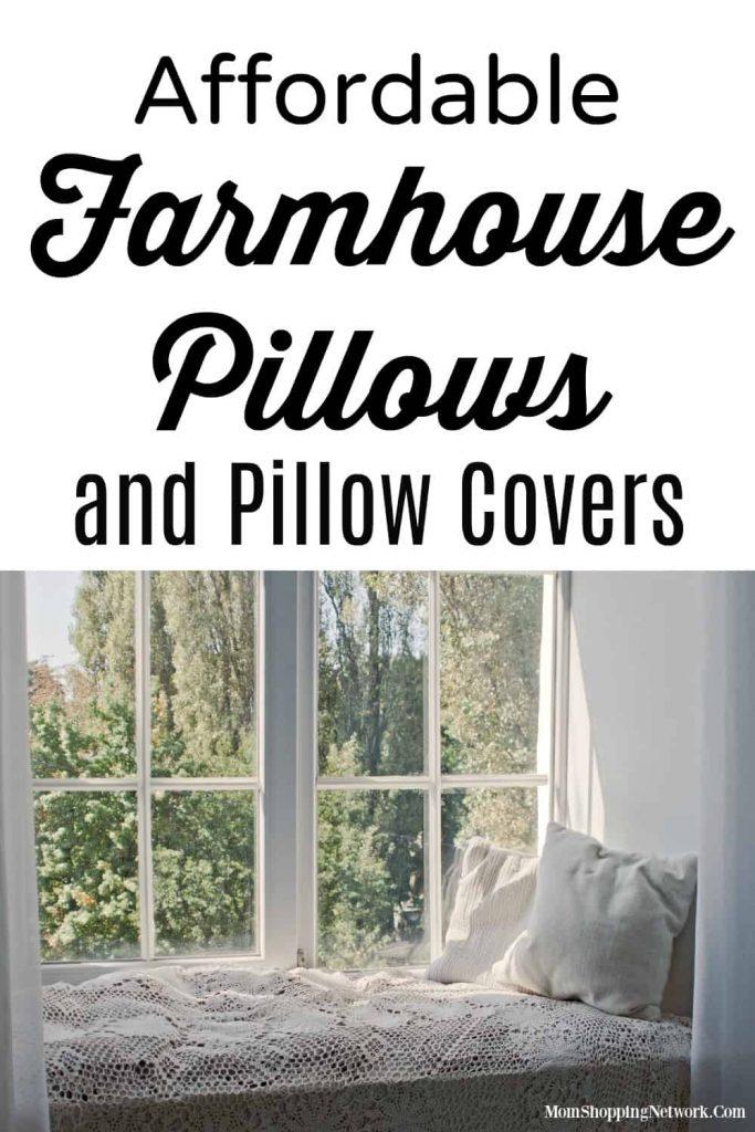farmhouse pillows on window seat