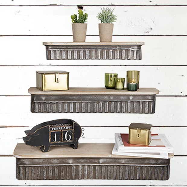 Metal and Wood Shelves  #shelving #bedroomdecor #momshoppingnetwork