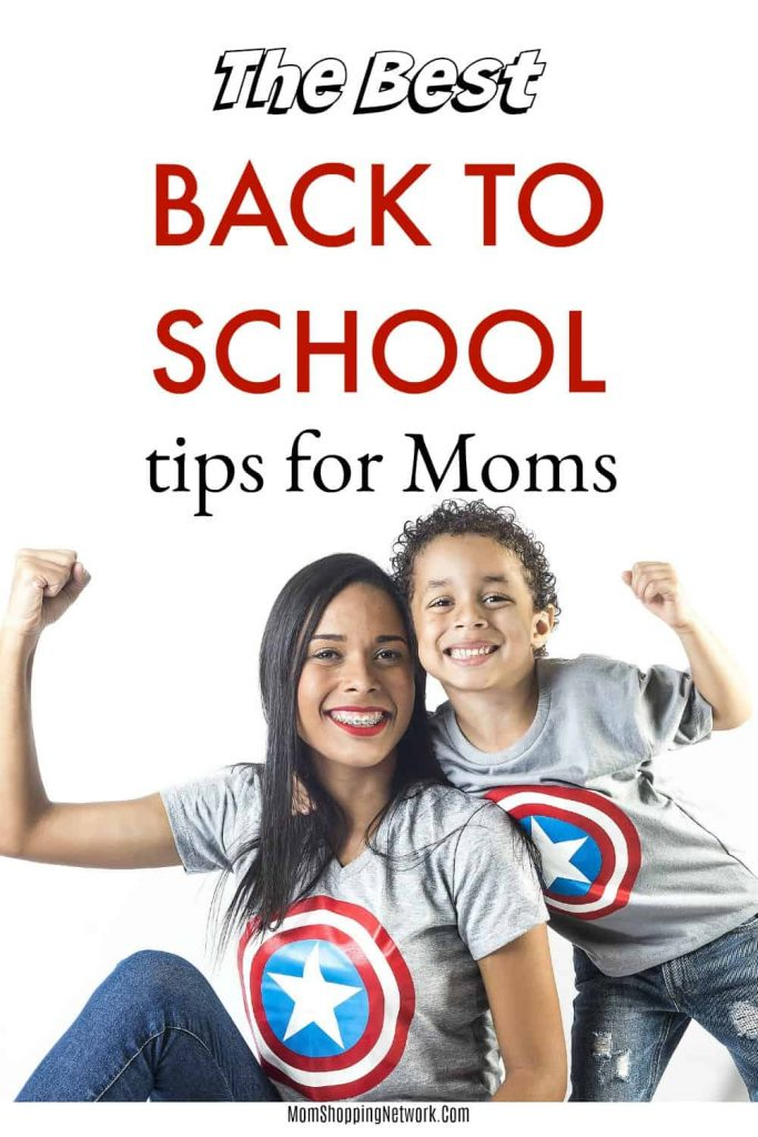 Super mom helping son get ready for back to school