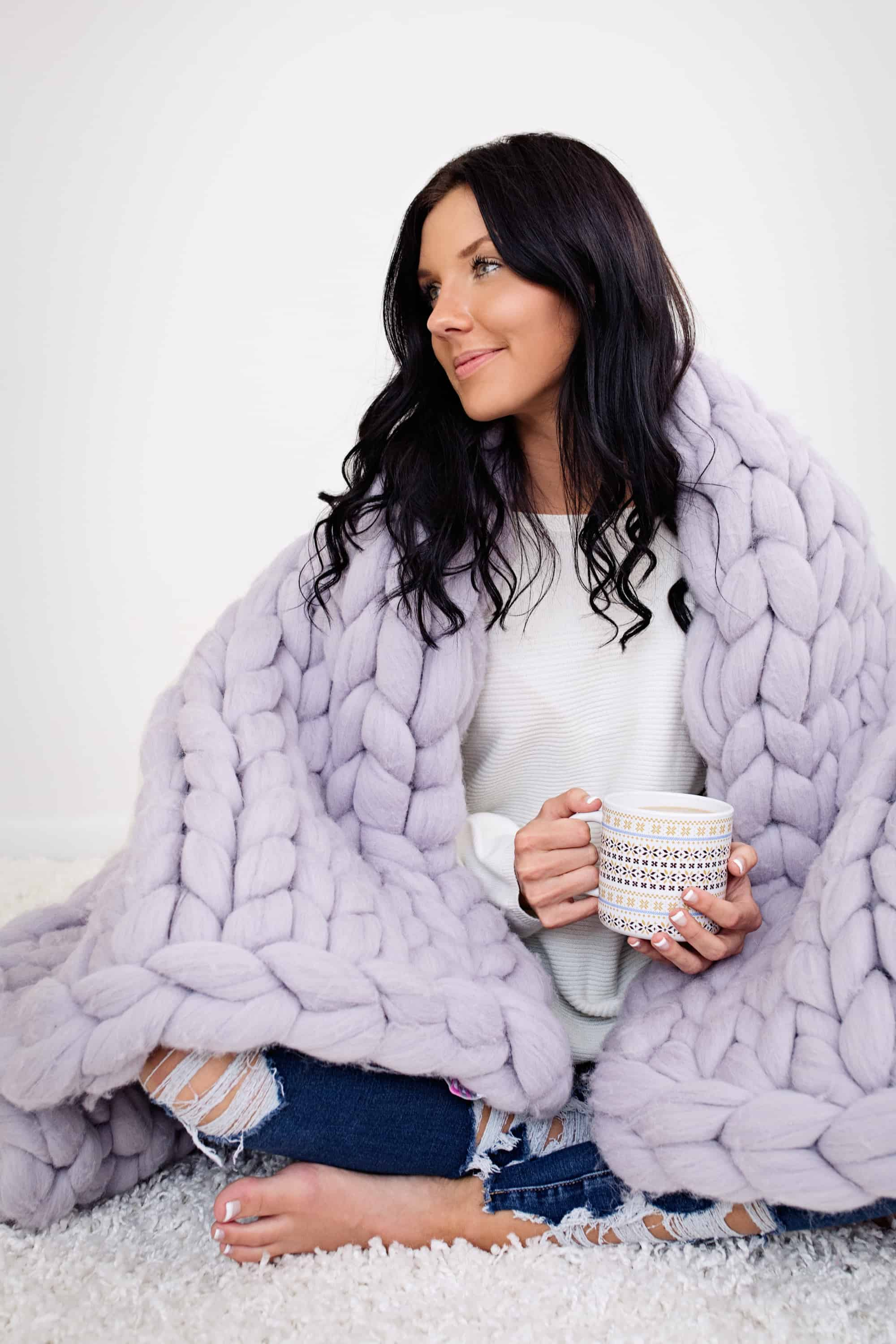 e481571439 This chunky knit merino wool throw blanket from Becozi is to die for!  Chunky Throw