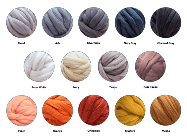 Becozi Merino Wool Color Chart #chunky #chunkyblanket #chunkythrow #chunkyknit #chunkyknitblanket #chunkywool