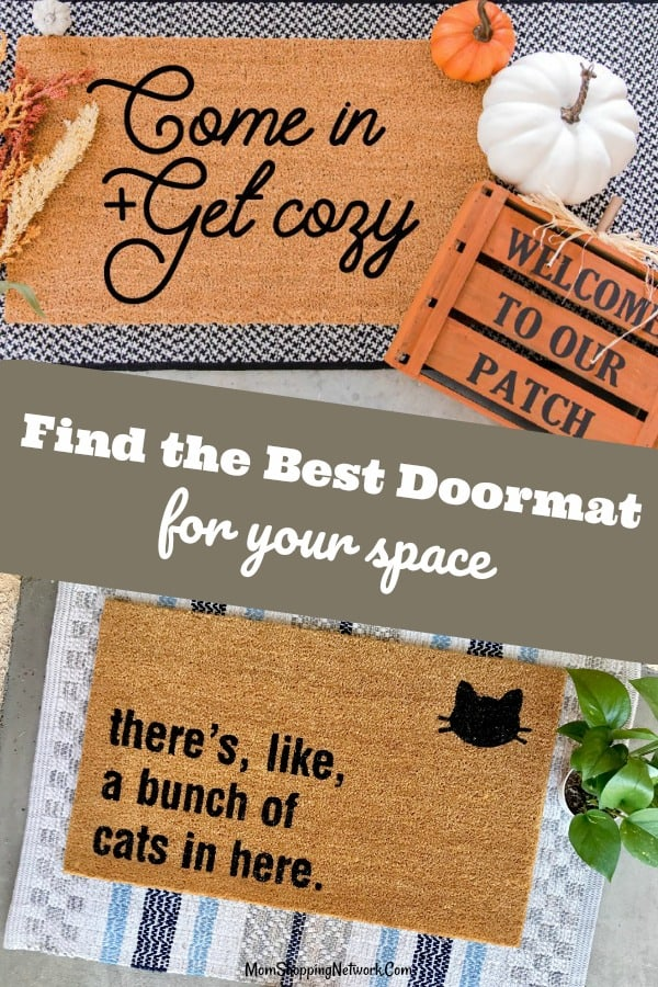 This Ultimate Doormat Guide Will Help You Find The Right Doormat For Your Space. From layered doormats and funny doormats to farmhouse style doormats, personalized doormats and more, there's something here for every front porch! #doormat #doormatlayering #doormatideas #funnydoormats #layereddoormats #farmhousedoormats #cutedoormats #outdoordoormats #personalizedoormats #welcomedoormats #welcomemat #frontporch #frontporchdecorating #frontporchdecor