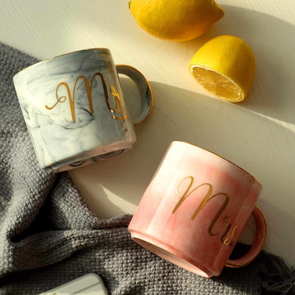 Grey and Pink Marble coffee mugs