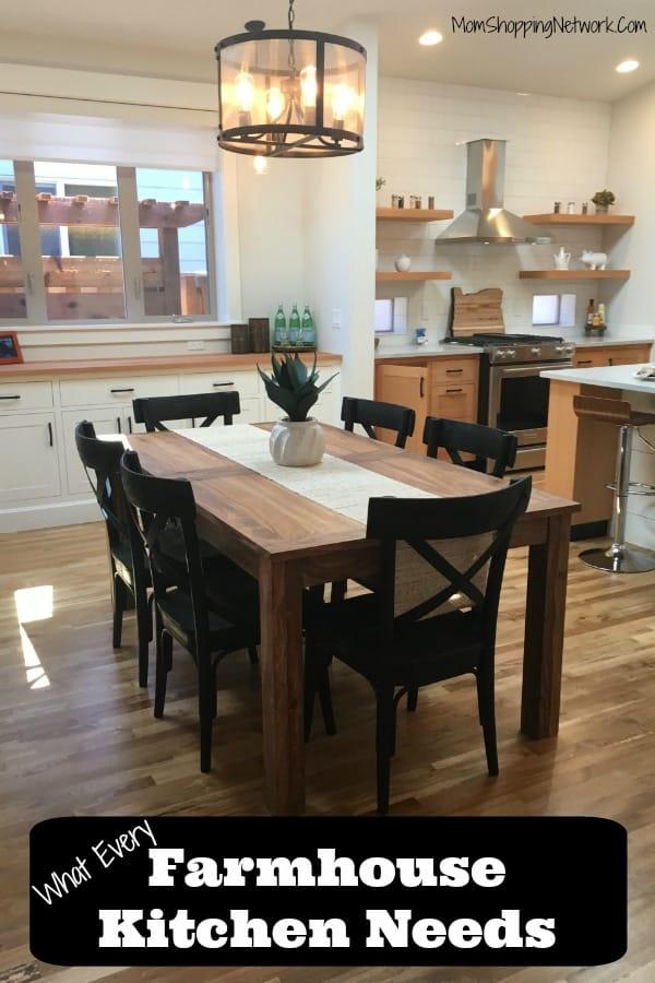 modern farmhouse kitchen including farmhouse table, open shelving, farmhouse lighting, wood floors and subway tile backsplash