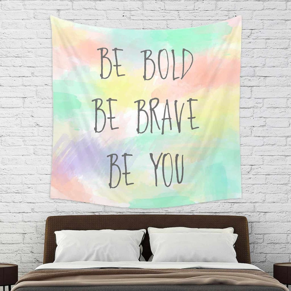 colorful tapestry with inspirational quotes for teen girls bedroom