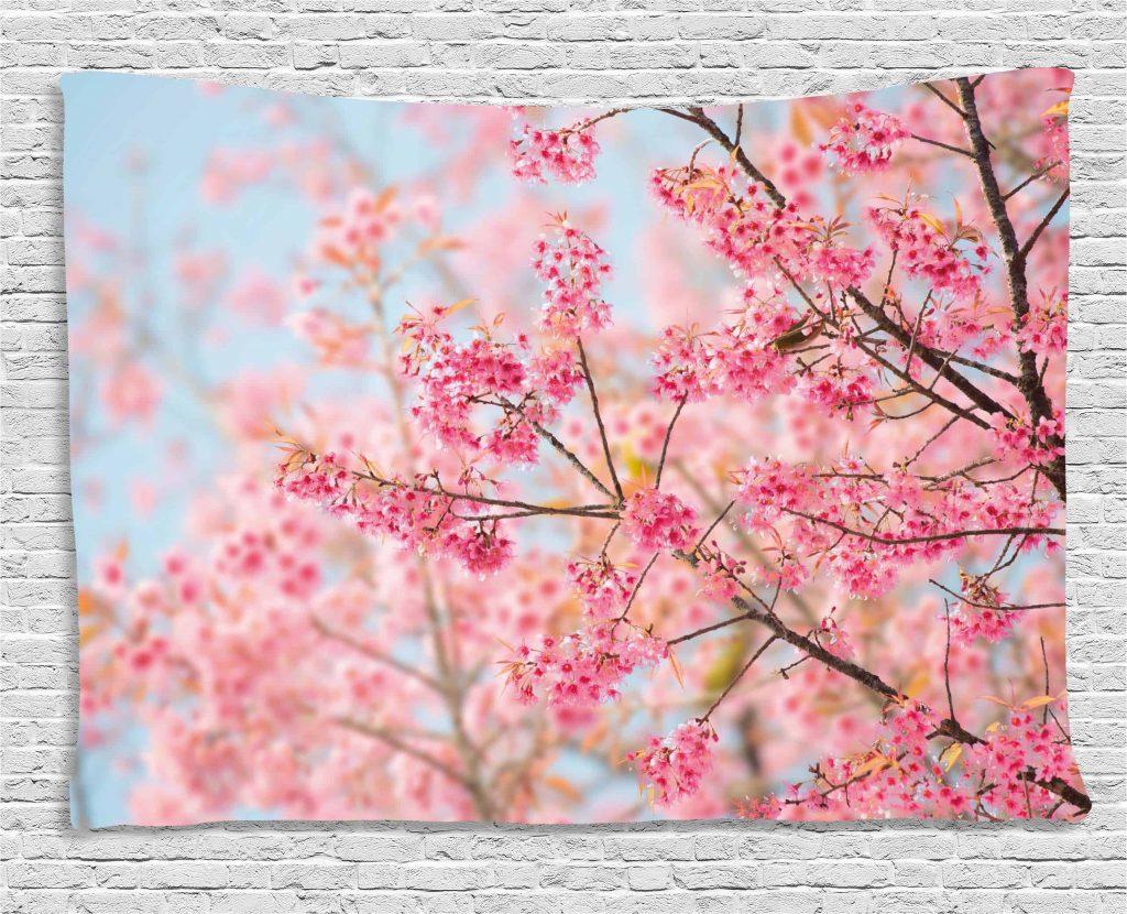 cherry blossom tapestry for teenage girl's bedroom