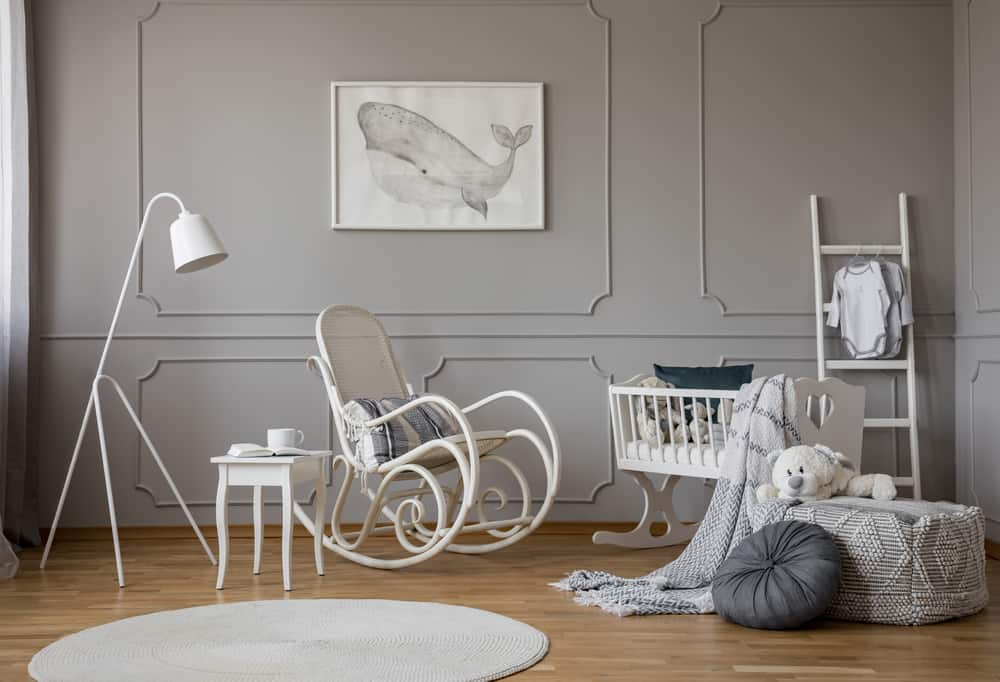 white and grey baby nursery room essentials