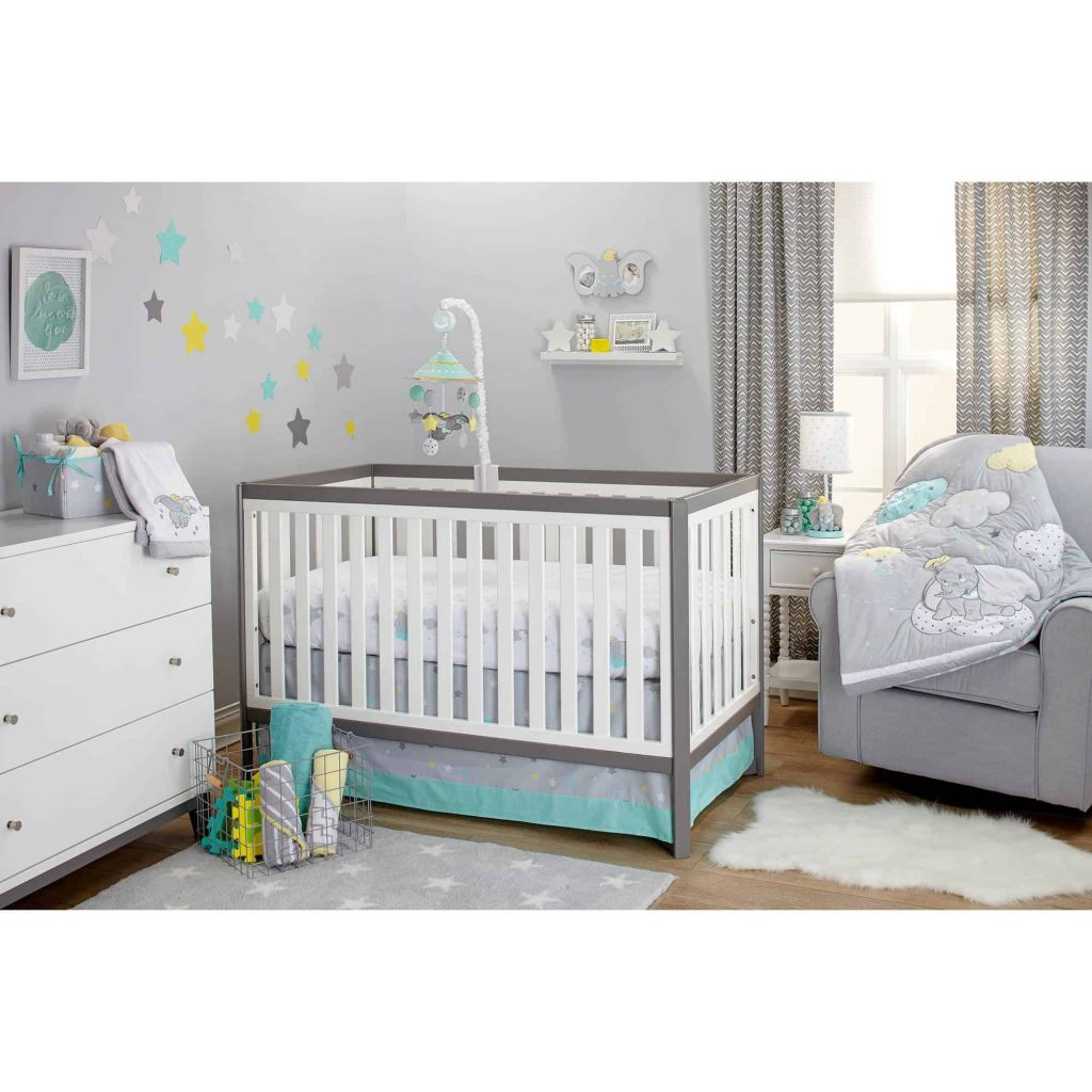 nursery essentials including Disney Dumbo accessories and decor