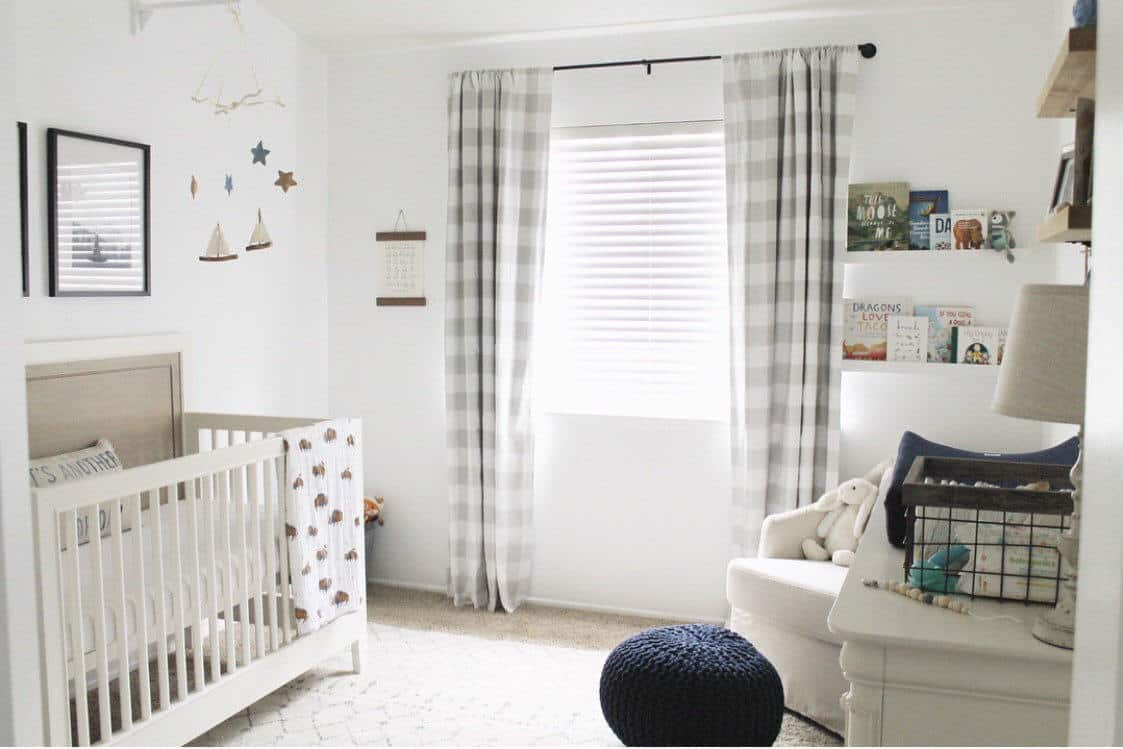 nursery with checkered curtains
