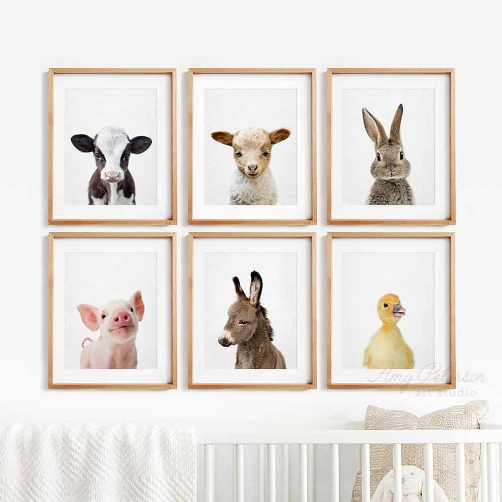 farm animal wall art baby nursery room ideas
