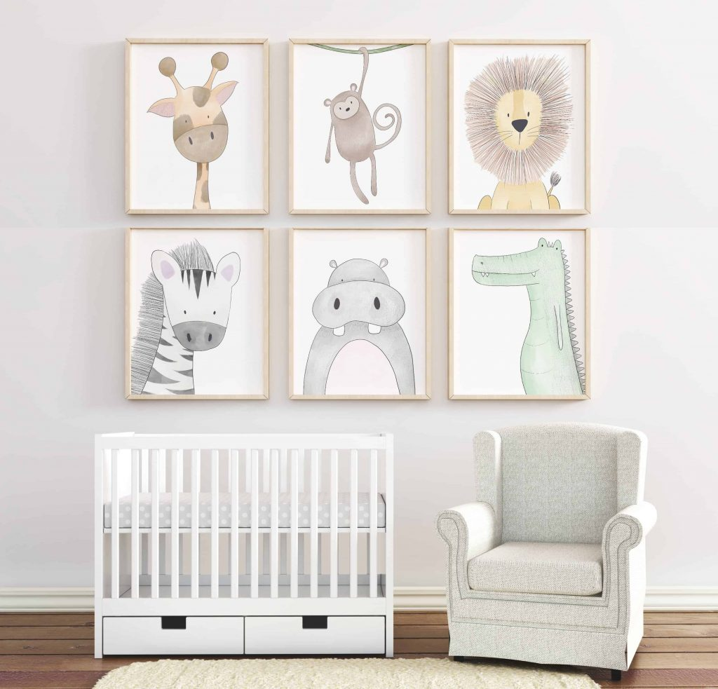 safari wall art for baby nursery room