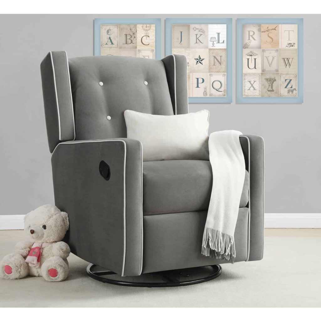 Grey rocking chair in baby nursery