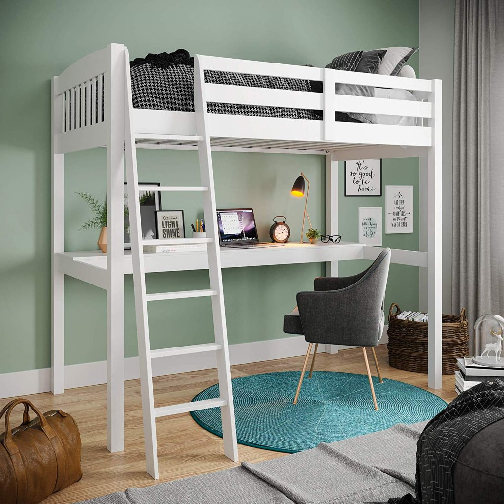 Bunk Bed with Desk Underneath #bunkbedideas #smallbedroomdecorideas