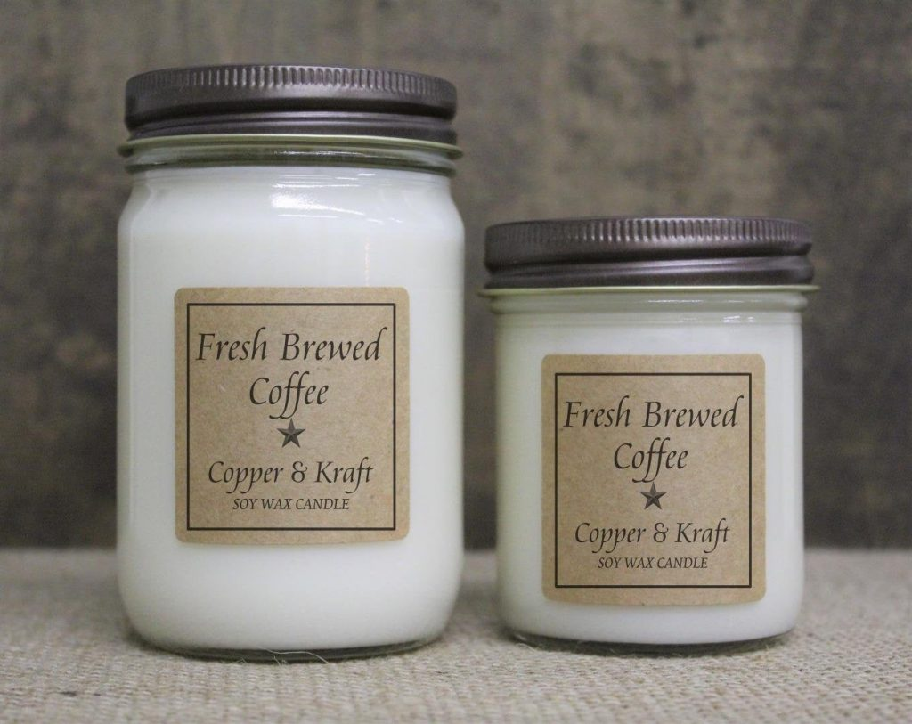 Copper and Kraft Coffee Scented Candles #handmadecandles #candlegifts #etsy #candleloversgifts