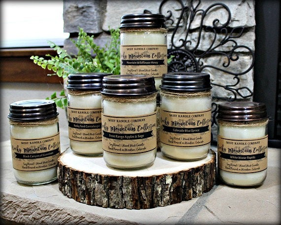 Rocky Mountain Wood Wick Collection #etsy #woodwickcandles #rockymountaincandles #jarcandles #handmadecandles